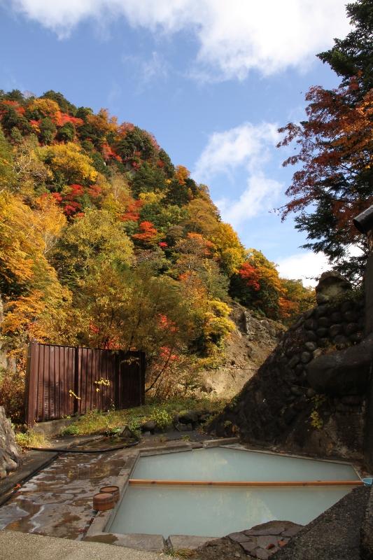 紅葉と露天風呂